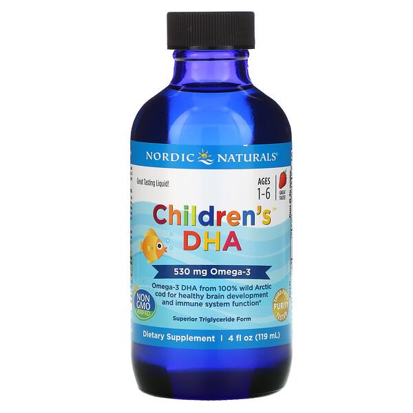 兒童 DHA,1-6 歲,草莓味,530 毫克,4 液量盎司(119 毫升)