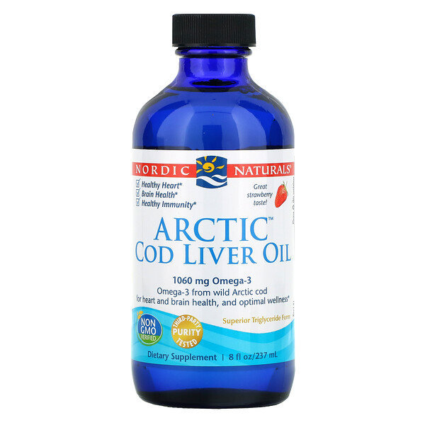 Arctic Cod Liver Oil, Strawberry, 8 fl oz (237 ml)