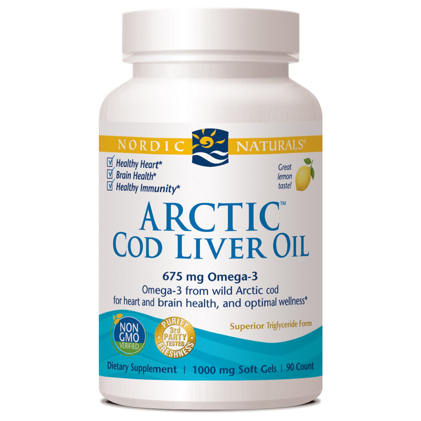 Nordic Naturals, Nordic Naturals, Масло печени арктической трески, со вкусом лимона, 1000 мг, 90 гелевых капсул