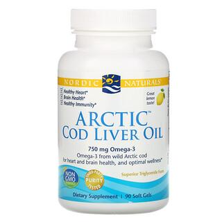 Nordic Naturals, Arctic Cod Liver Oil, Lemon, 1000 mg, 90 Soft Gels