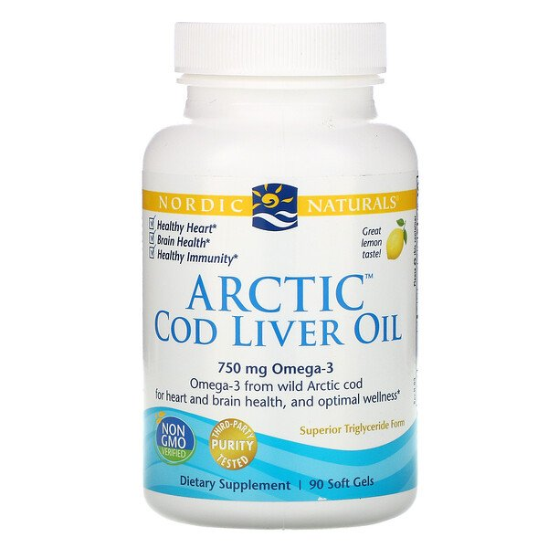 Arctic Cod Liver Oil, Lemon, 1000 mg, 90 Soft Gels