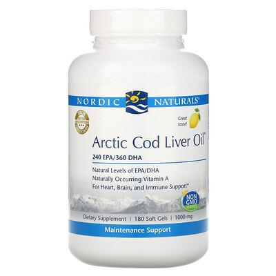 Nordic Naturals Arctic Cod Liver Oil, Lemon, 1,000 mg, 180 Softgels