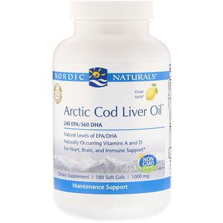 Nordic Naturals, Arctic Cod Liver Oil, Lemon, 1000 mg, 180 Softgels