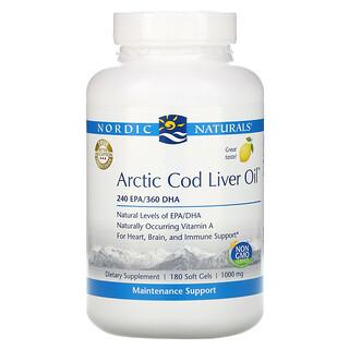 Nordic Naturals, Arctic Cod Liver Oil, Lemon, 1,000 mg, 180 Softgels