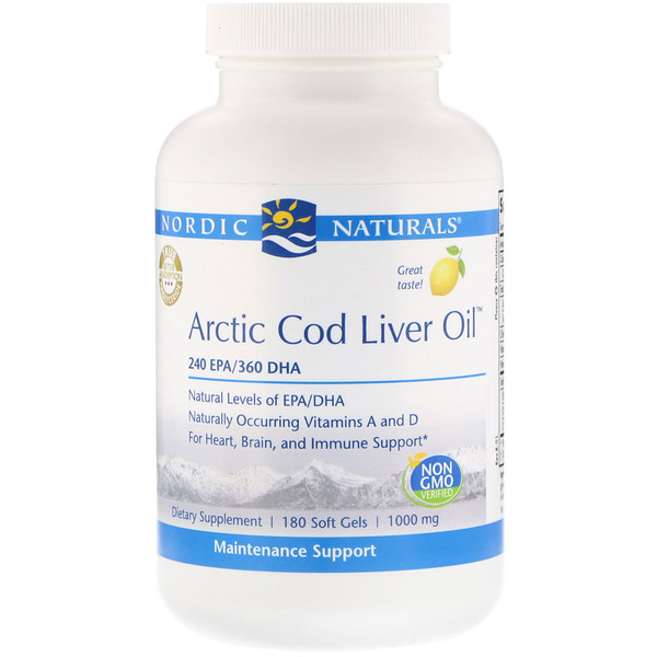 Arctic Cod Liver Oil, Lemon, 1,000 mg, 180 Softgels