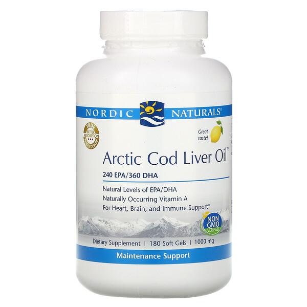 北極産タラ肝油、レモン、1,000mg、ソフトジェル180粒