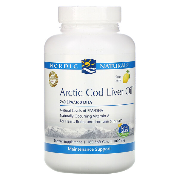 Arctic Cod Liver Oil, Lemon, 1,000 mg, 180 Softgels