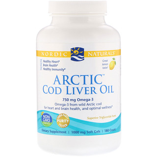 Nordic Naturals, Arctic Cod Liver Oil, Lemon, 1000 mg, 180 Soft Gels