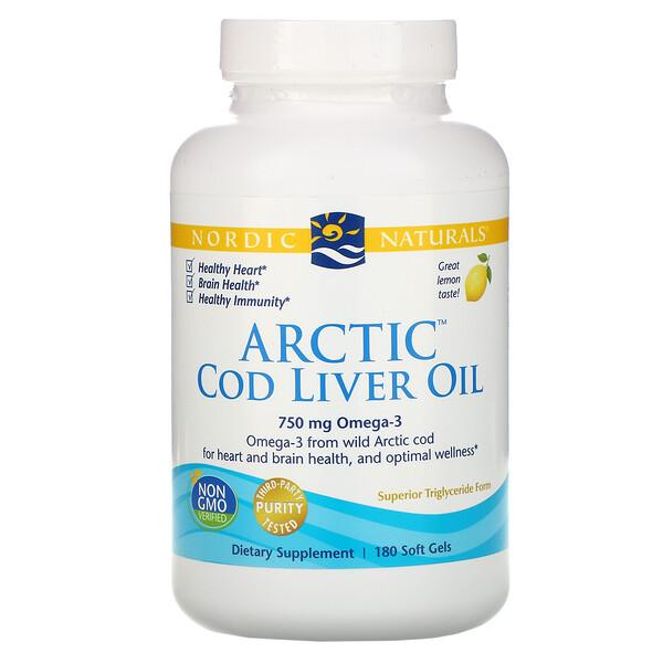 北極タラ肝油, レモン, 1000 mg, 180ソフトゼリー
