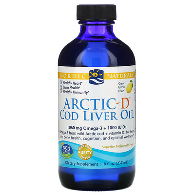 Nordic Naturals Arctic-D, жир печени трески с лимоном, 237 мл (8 жидких унций)