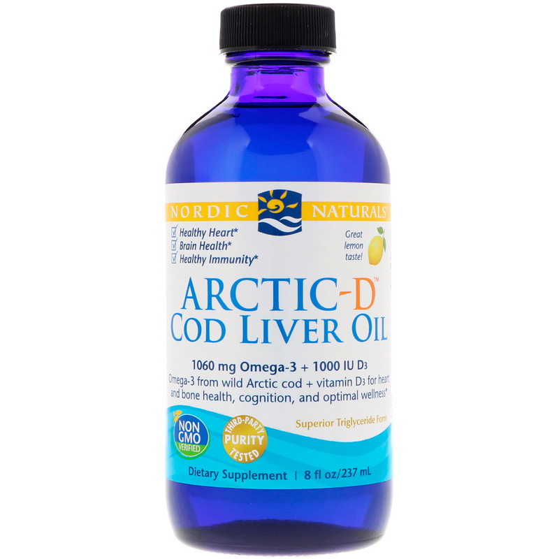 Arctic-D Cod Liver Oil, Lemon, 8 fl oz (237 ml)