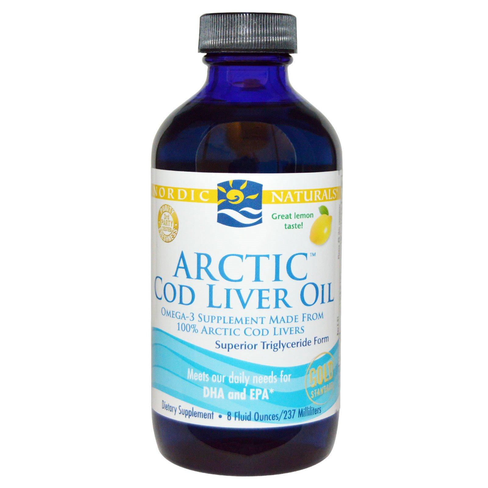 Nordic Naturals, Масло печени арктической трески, со вкусом лимона, 8 жидких унций (237 мл)