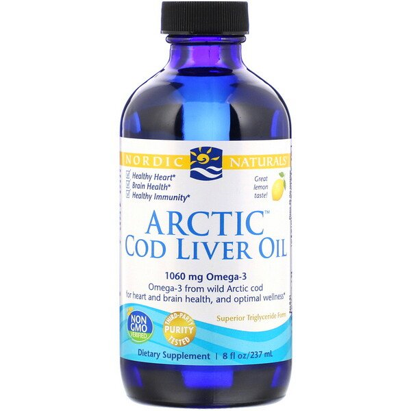 Nordic Naturals, Arctic Cod Liver Oil, Lemon, 8 fl oz (237 ml)