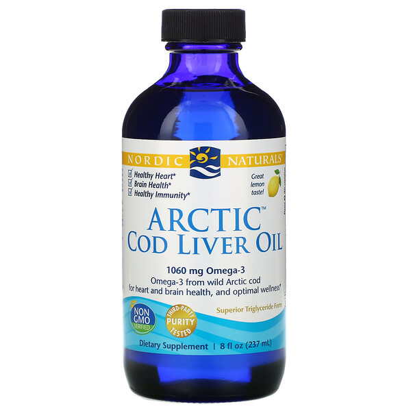 Arctic Cod Liver Oil, Lemon, 8 fl oz (237 ml)