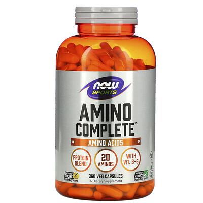 Купить Now Foods Sports, Amino Complete, аминокислотный комплекс, 360растительных капсул
