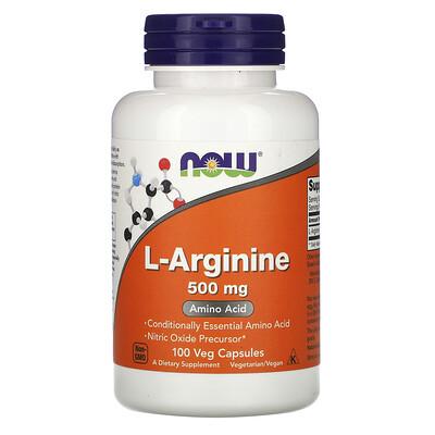 Купить Now Foods L-аргинин, 500мг, 100вегетарианских капсул
