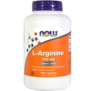 Now Foods, L-Arginine, 500 mg, 250 Cápsulas