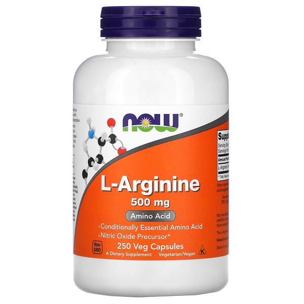 Now Foods, L-arginina, 500 mg, 250 cápsulas vegetales