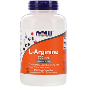 Now Foods, L-Arginine, 700 mg, 180 Veg Capsules