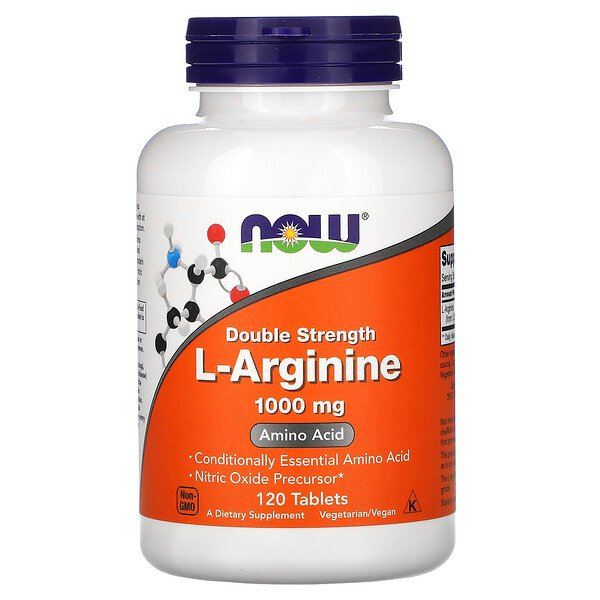 Now Foods, L-arginine, Double efficacité, 1000 mg, 120 comprimés