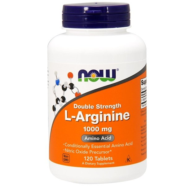 Now Foods, L-arginina, 1000 mg, 120 comprimidos