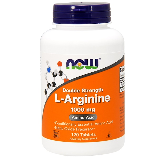 Now Foods, L-Arginina, 1,000 mg, 120 comprimidos