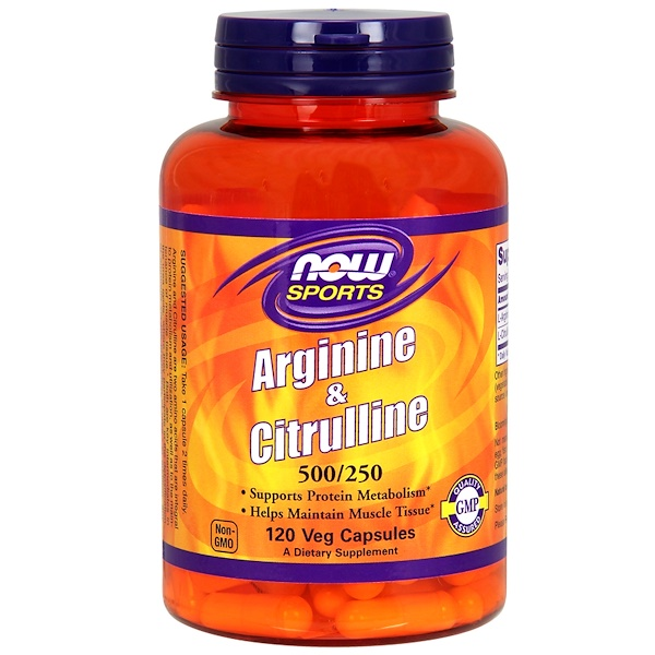 Now Foods, Sports, Arginine & Citrulline, 500 mg /250 mg, 120 Veg Capsules