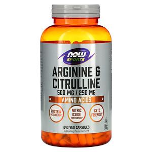 Now Foods, Sports, Arginine & Citrulline, 500 mg /250 mg, 240 Veg Capsules отзывы покупателей