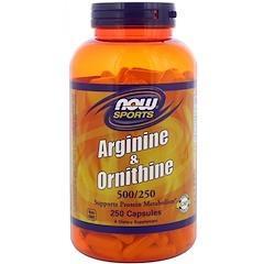 Now Foods, Sports, Arginine & Ornithine, 500/250, 250 Capsules