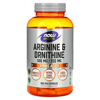Now Foods, Sports, Arginine & Ornithine, 500 mg /250 mg, 250 Veg Capsules