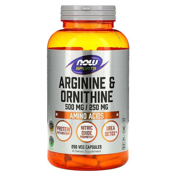 Sports, Arginine & Ornithine, 500 mg /250 mg, 250 Veg Capsules