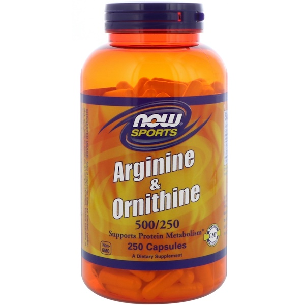 Sports, Arginine & Ornithine, 500 mg /250 mg, 250 Capsules