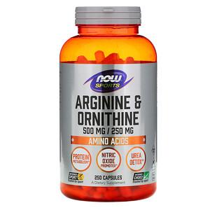 Now Foods, Sports, Arginine & Ornithine, 500 mg /250 mg, 250 Capsules отзывы покупателей
