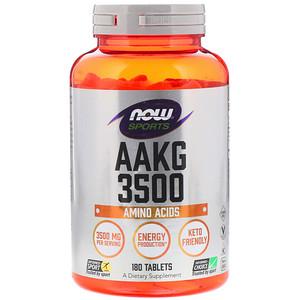 Now Foods, Sports, AAKG 3500, Amino Acids , 180 Tablets отзывы покупателей