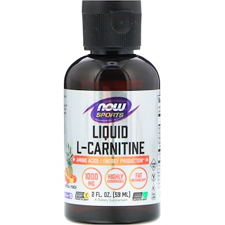 Now Foods, Sports Liquid L-Carnitine, Tropical Punch, 1000 mg, 2 fl oz (59 ml)