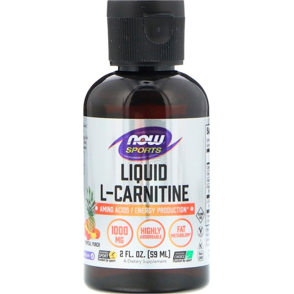 Now Foods, Sports, Liquid L-Carnitine, Tropical Punch, 1,000 mg, 2 fl oz (59 ml) (Discontinued Item)