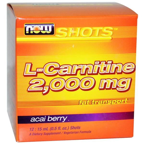 Now Foods, Shots, L-карнитин, Асаи, 12 доз, 0,5 жидкой унции (15 мл) каждая (Discontinued Item)