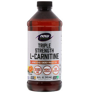 Now Foods, Sports, L-Carnitina Líquida Tripla Força, Sabor Citrus, 3.000 mg, 473 ml