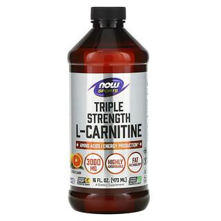 Now Foods, Sports, Triple Strength L-Carnitine Liquid, Citrus, 3,000 mg, 16 fl oz (473 ml)