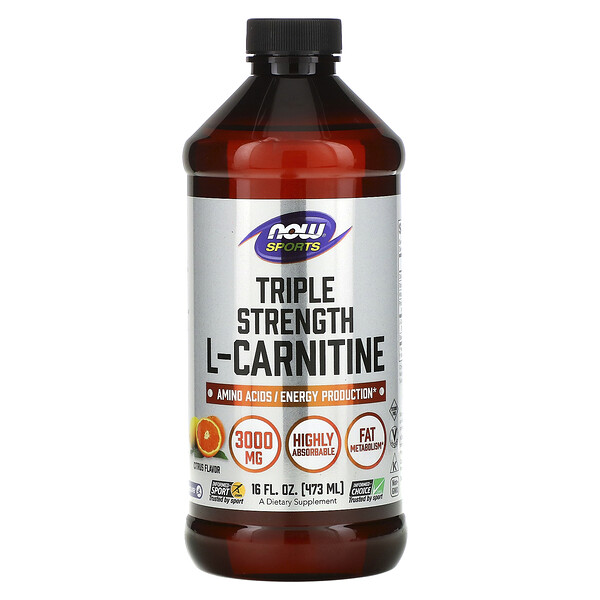 Now Foods, Sports, Triple Strength L-Carnitine Liquid, Citrus, 3,000 mg, 16 fl oz (473 ml)