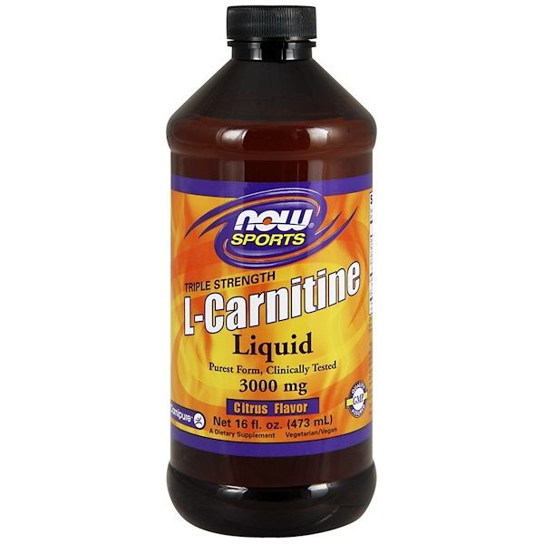 Now Foods, Спортивное питание, Жидкий L-карнитин, Тройная сила, Цитрусовый вкус, 3000 мг, 16 жидких унций (473 мл)