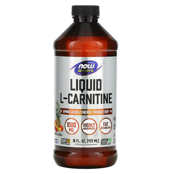 Now Foods, Sports, L-Carnitine Liquid, Tropical Punch, 1,000 mg, 16 fl oz (473 ml)