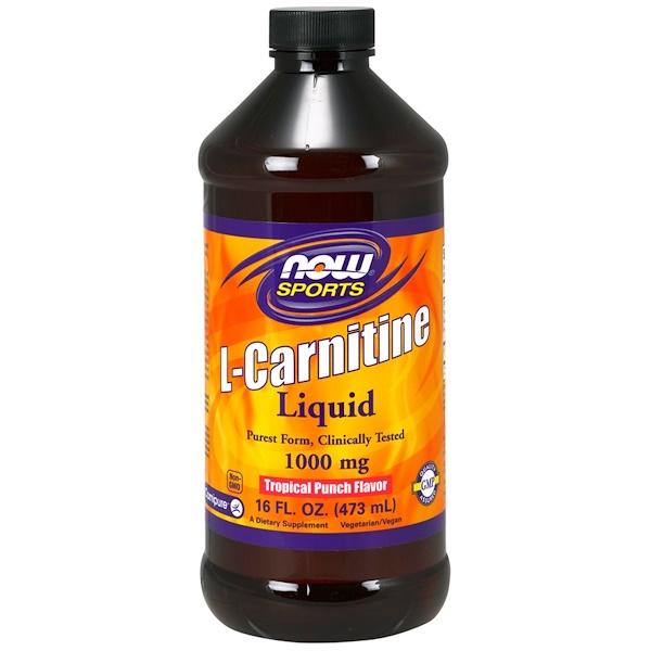 Now Foods, L-Carnitine Liquid, Tropical Punch Flavor, 1,000 mg, 16 fl oz (473 ml)