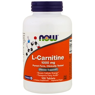 Now Foods, L-carnitina, 1.000 mg, 100 Comprimidos