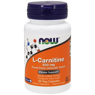 Now Foods, L-Carnitine, 500 mg, 30 Veg Capsules