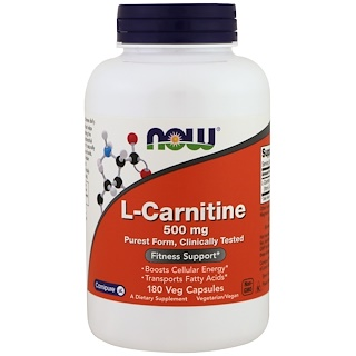Now Foods, L-Carnitina, 500 mg, 180 Cápsulas vegetarianas