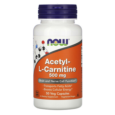 Now Foods Acetyl-L- Carnitine, 500 mg, 50 Veg Capsules
