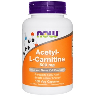 Now Foods, Acetil-L Carnitina, 500 mg, 100 cápsulas vegetais