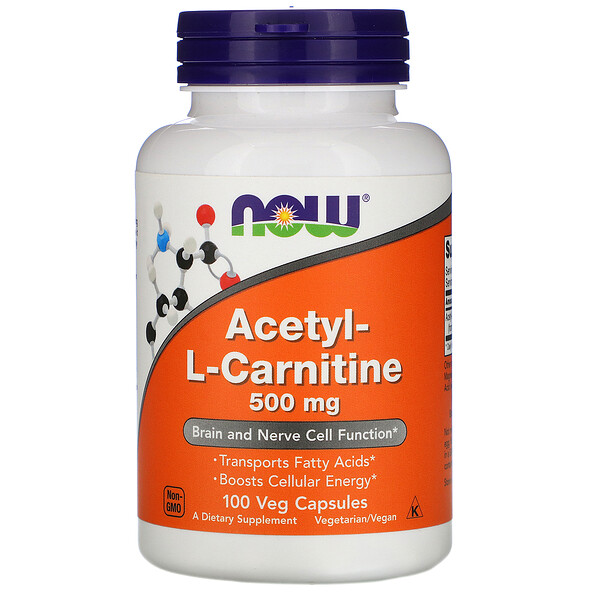 Acetil-L-Carnitina, 500 mg, 100 cápsulas vegetales