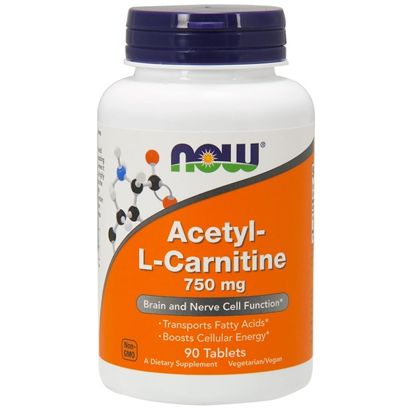 "Now Foods, Acetyl-L Carnitine, 750 מ""ג, 90 טבליות"